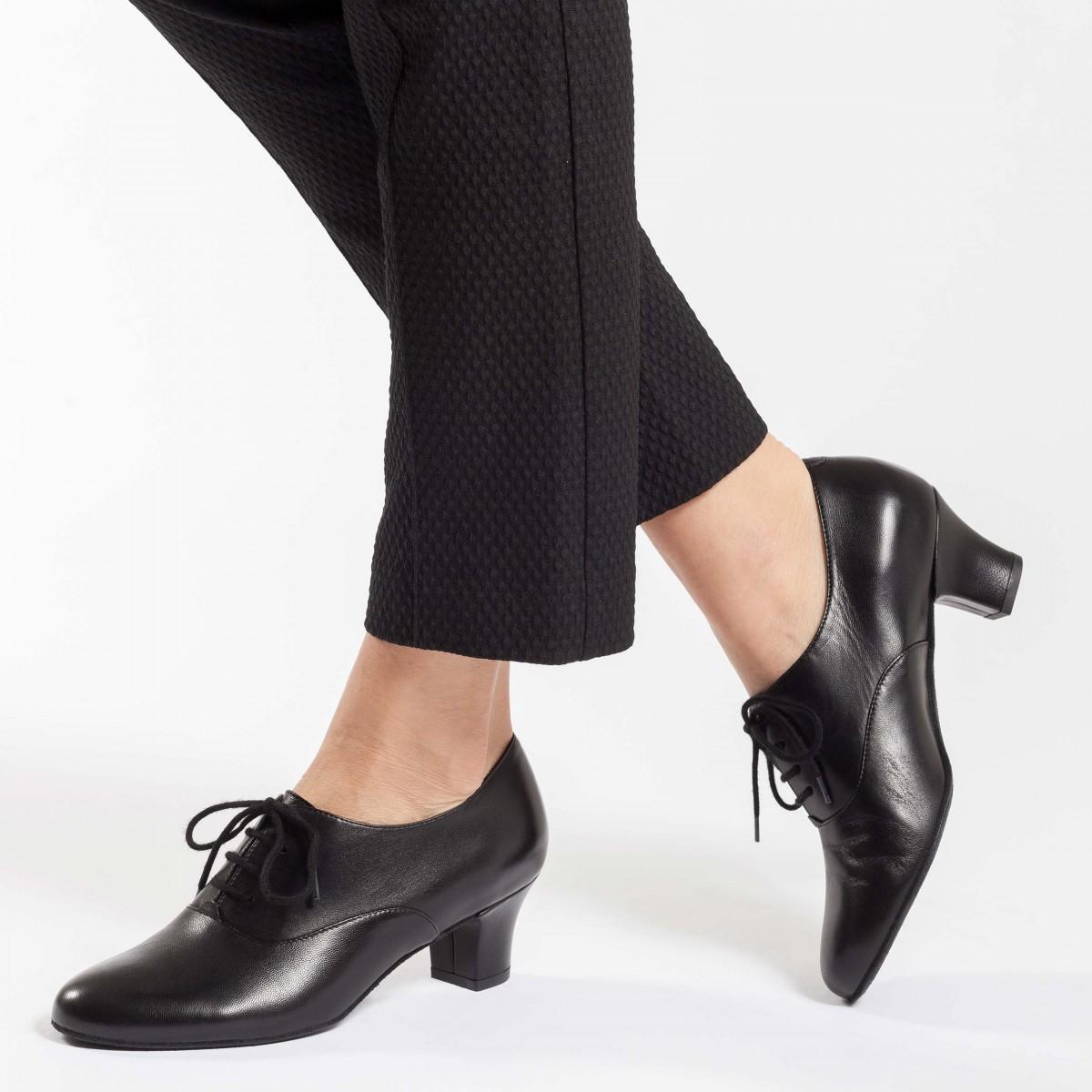 Werner Kern Olivia zwarte trainingsschoenen voor argentijnse tango van leer