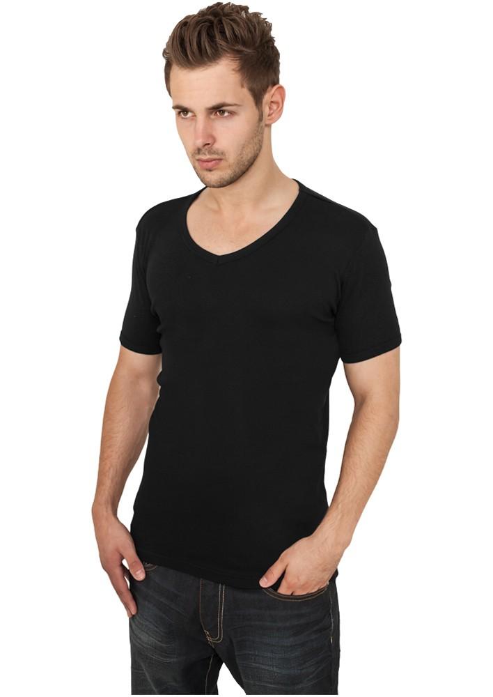 urban classics tb367 zwart t-shirt met v-hals