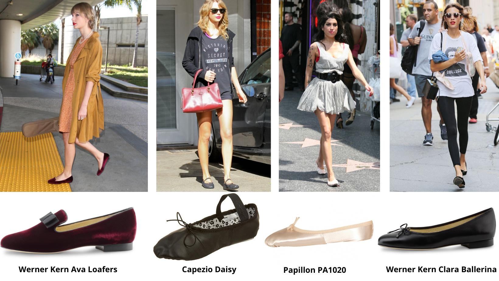 beroemdheden met ballerina's en balletschoenen, modewereld en danswereld