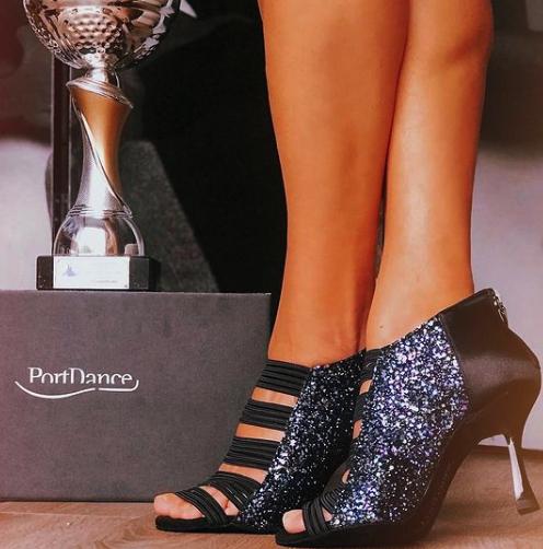 Portdance PD811 pro kizomba dansschoenen met glitter