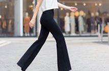 wijd uitlopende jazz broek zwart