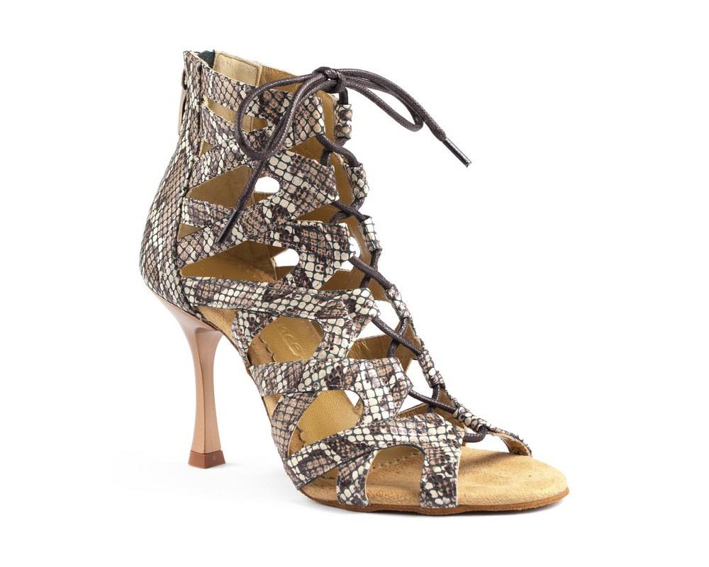portdance pd804 brown snake leather high heels dansschoenen