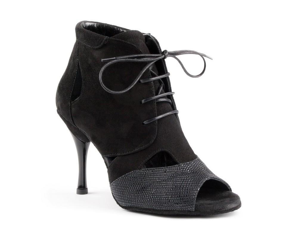 Portdance pd809 black nubuck and leather zwarte danshakken